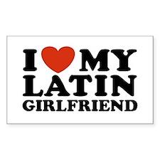 I Love My Latin Girlfriend Rectangle Decal