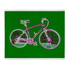 Green Bicycle Cycling Wondrous Velo Throw Blanket