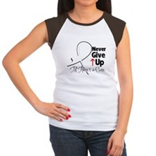 Never Give Up Lung Cancer Women's Cap Sleeve T-Shi