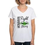 WarriorNonHodgkinsLymphoma Women's V-Neck T-Shirt