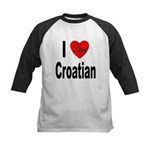 I Love Croatian Kids Baseball Jersey