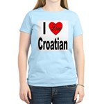 I Love Croatian (Front) Women's Pink T-Shirt