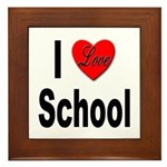 I Love School Framed Tile