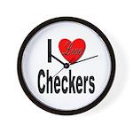 I Love Checkers Wall Clock