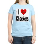 I Love Checkers (Front) Women's Pink T-Shirt