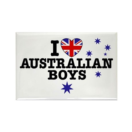 I Love Australian Boys Rectangle Magnet