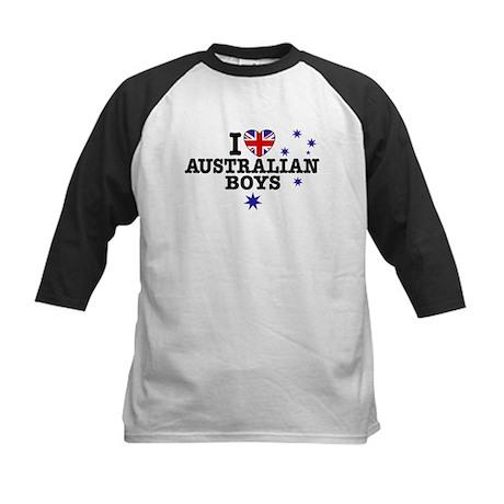 I Love Australian Boys Kids Baseball Jersey