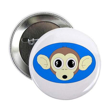 "MONKEY FACE (BLUE BACKGROUND) 2.25"" Button (100 p"