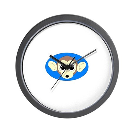 MONKEY FACE (BLUE BACKGROUND) Wall Clock