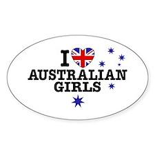 I Love Australian Girls Oval Decal