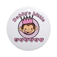 Daddy's Little Monkey (girl) Ornament (Round)