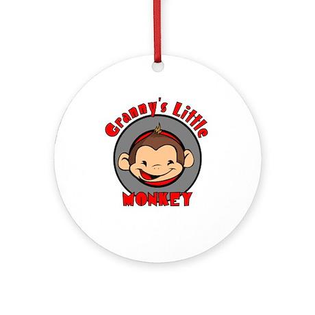 Granny's Little Monkey (boy) Ornament (Round)