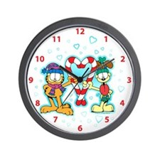 Garfield Candy Cane Heart Wall Clock