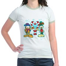 Garfield Candy Cane Heart Jr. Ringer T-Shirt