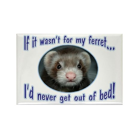 Never Get Out of Bed Ferret Rectangle Magnet