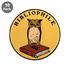 """Bibliophile Seal w/ Text 3.5"""" Button (10 pack)"""