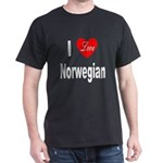 I Love Norwegian (Front) Black T-Shirt