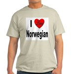 I Love Norwegian (Front) Ash Grey T-Shirt