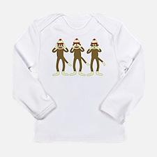 No Evil Sock Monkeys Long Sleeve Infant T-Shirt