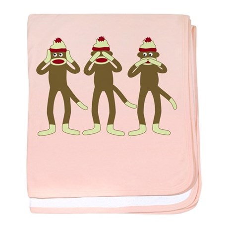 No Evil Sock Monkeys Infant Blanket