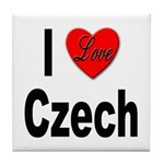 I Love Czech Tile Coaster