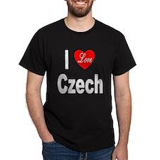 I Love Czech (Front) Black T-Shirt