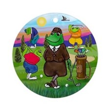 Golfing Frogs Ornament (Round)