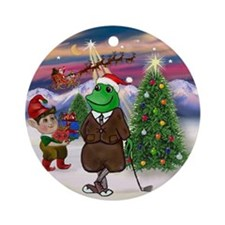 Santa's Golfing Frog Friend Ornament (Round)