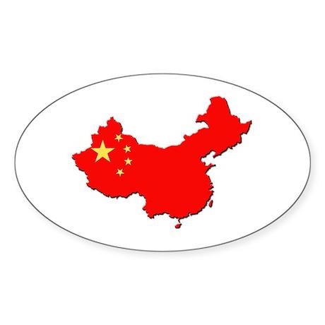 China Flag Map Sticker (Oval)