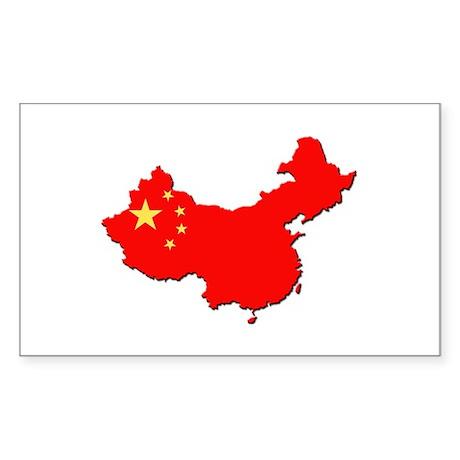 China Flag Map Sticker (Rectangle)