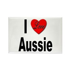 I Love Aussie Rectangle Magnet
