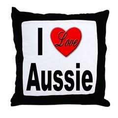 I Love Aussie Throw Pillow