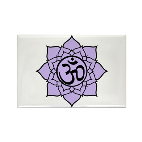 Purple Om Lotus Blossom Rectangle Magnet