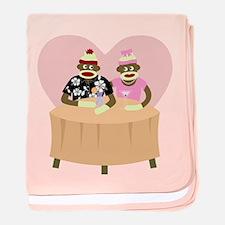 Sock Monkey Boy & Girl Infant Blanket