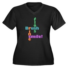 Brush Floss Rinse Smile Women's Plus Size V-Neck D