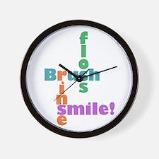 Brush Floss Rinse Smile Wall Clock