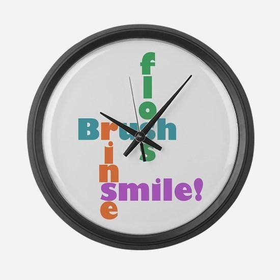 Brush Floss Rinse Smile Large Wall Clock