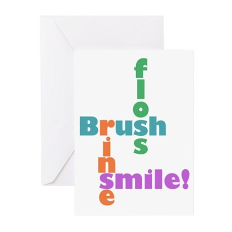 Brush Floss Rinse Smile Greeting Cards (Pk of 20)