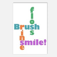 Brush Floss Rinse Smile Postcards (Package of 8)