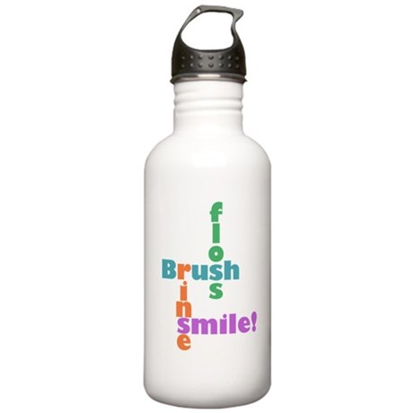 Brush Floss Rinse Smile Stainless Water Bottle 1.0