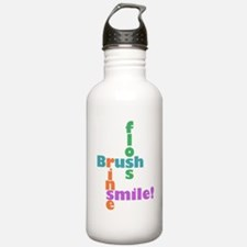 Brush Floss Rinse Smile Water Bottle
