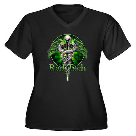 Rad Tech Caduceus Green Women's Plus Size V-Neck D