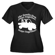 Family Plays Women's Plus Size V-Neck Dark T-Shirt