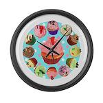 Polka Dot Cupcake Large Wall Clock