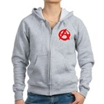 Anarchy-Red Women's Zip Hoodie