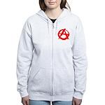 Anarchy-Red Women's Zip Hoodie