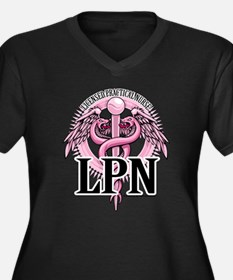 LPN Caduceus Pink Women's Plus Size V-Neck Dark T-