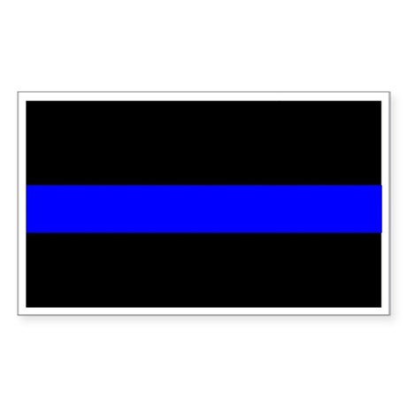 Police Officer Thin Blue Line Sticker (Rectangle 1