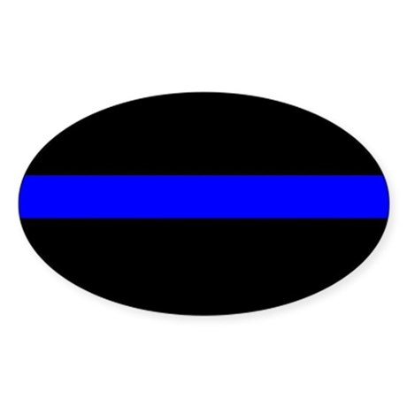 Police Officer Thin Blue Line Sticker (Oval)