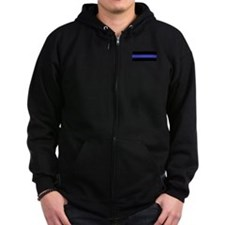 Police Officer Thin Blue Line Zip Hoody